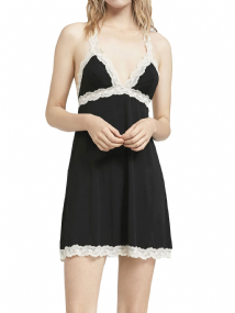 OYSHO BLACK LACE TRIM NIGHTDRESS NURSING FRIENDLY S M L